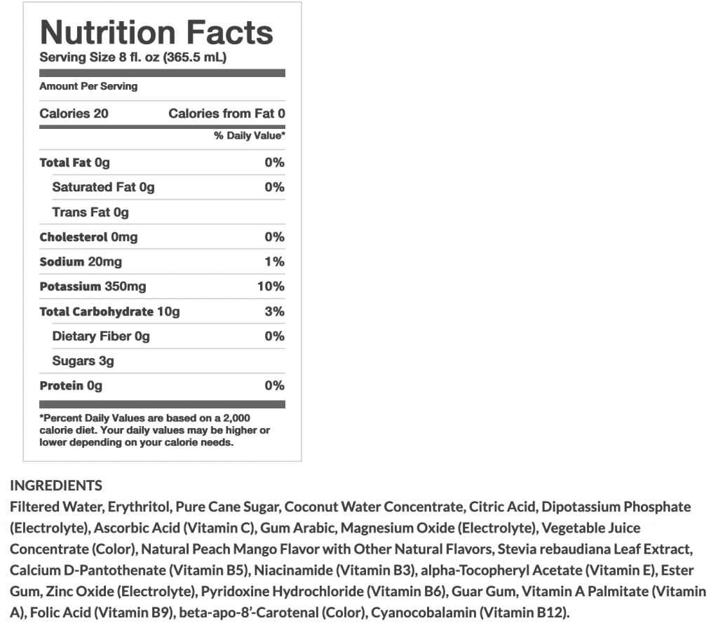 screenshot of BodyArmor Lyte Nutrition Facts
