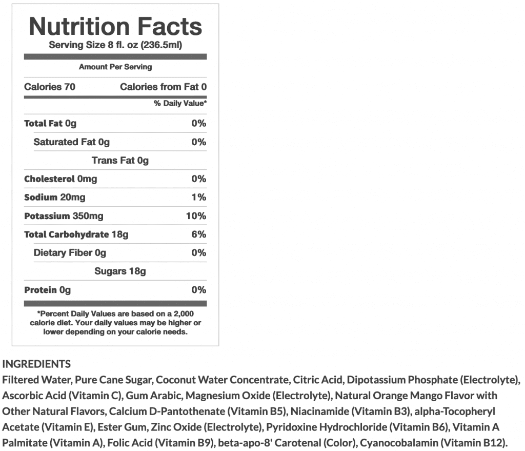 screenshot of BodyArmor Nutrition Facts
